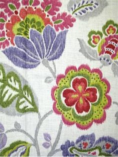 "Braemore Textiles traditional ikat floral print. Linen rayon fabric. Beautiful multi purpose decorator fabric. 27"" repeat. 54"" wideKazoo Ruby"