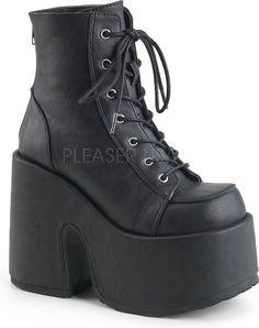 b608155b1f3 Demonia Shoes - CAMEL-203 Black Vegan Leather Goth Boots