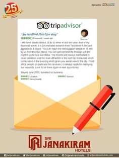 """An Excellent Hotel for Stay "" was an excellent review given by our customer. Dear Guest, Thank you. We are really happy to know that the you are a regular visitor to our hotel. We look forward to your wonderful stay. Review our Hotel : tripadvisor.in/sri_janakiram_hotels"