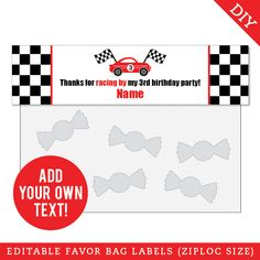 Paper goods and DIY printables for parties and holidays Race Car Party, Race Cars, 3rd Birthday Parties, Treat Bags, Favor Tags, Paper Goods, Party Favors, Card Stock, Racing
