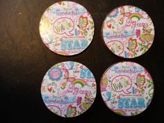 SOLD. Set of four coasters.  Great for a girls room or community space.
