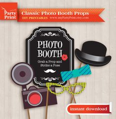 Photobooth Props (Classic) - Party Printable with digital mustache lips glasses photo booth sign for your moustache party or wedding props on Etsy, $6.00