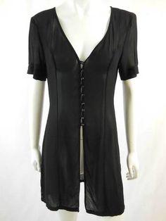 ALANNAH HILL Black Sheer Tunic Shirt Blouse Top Size 10