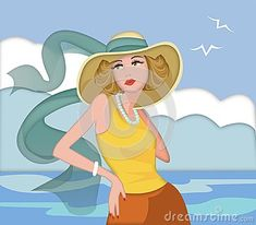Woman at the sea with hat. Wind, seagulls and clouds.