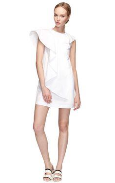 Shop Cotton Poplin Cascade Ruffle Dress by MSGM Now Available on Moda Operandi