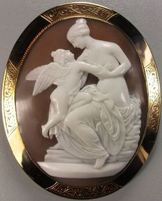 Rarest Victorian Cameo of Venus and Cupid after John Gibson.  From Antique Cameos LTD on Ruby Lane.