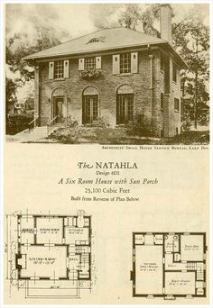1927 Brick Houses The Natahla Vintage House Plans Small House Traditional House