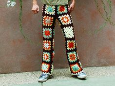 Granny squares crochet pants - look out dear husband, as soon as I learn how to crochet, these have your name on them!