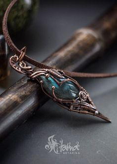Copper wire wrapped pendant with labradorite.