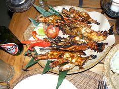 Grilled seafood at the Teba Cafe, Jimbaran Beach, Bali, Indonesia  ©Steve Gillick