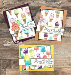 Birthday Cards For Mom, Handmade Birthday Cards, Fun Fold Cards, Folded Cards, Simple Card Designs, Mom Cards, Cards Diy, Ice Cream Theme, Fabric Cards