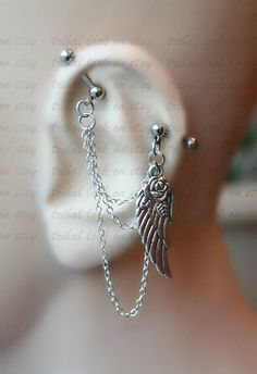 Industrial Barbell, Industrial piercing,  Jewelry, Industrial bar earring, Industrial piercing chain, Angel Wing with Rose  (m1)