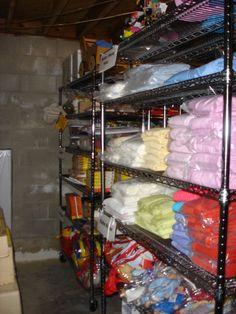 basement storage shelving - I need more of these shelves. Basement Laundry, Basement Storage, Basement Remodeling, Basement Ideas, Laundry Room, Storage Shelving, Storage Ideas, Craft Room Shelves, Unfinished Basements