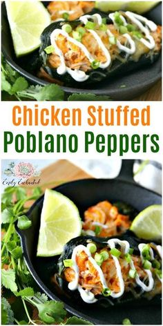 Chicken Stuffed Poblano Peppers #mexican #recipes #mexicanfood #recipe