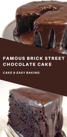 Famous Brick Street Chocolate Cake Everything you dream of rich dense chocolate cake Surprise ingredients And todiefor ganache icing Healthy Cake Recipes, Cupcake Recipes, Sweet Recipes, Baking Recipes, Dessert Recipes, Baking Desserts, Cake Baking, Cupcakes, Cupcake Cakes