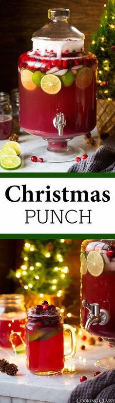 Christmas Punch - this Christmas Punch has been my go-to holiday drink for years! It's so delicious and perfectly festive and the whole family loves it! And it only takes minutes to make. via punch recipes alcholic Christmas Punch - Cooking Classy Christmas Party Food, Christmas Cocktails, Xmas Food, Holiday Drinks, Christmas Cooking, Noel Christmas, Christmas Goodies, Christmas Desserts, Holiday Treats