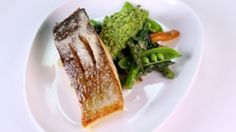 Pan-Seared Salmon with Spring Vegetables & Pea-Mint Pesto
