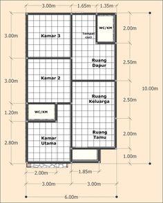 Desain Rumah Sederhana 6 X 10 Meter - DesainRumahku. Home Layout Design, Home Design Plans, Little House Plans, Small House Plans, Minimal House Design, Small House Design, House Layout Plans, House Layouts, Room Design Bedroom