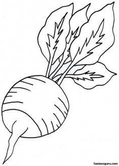 Printable Vegetable Radish Coloring Page