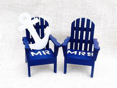 Nautical beach Chairs Adirondack Cake Topper by NauticalWeddings