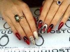 Gel Brush Mouiln Rouge + Ivory + Paint Gel by Malwina Em #nails #nail #red #ivory #moulin #ombre #black #rouge #indigo #gelbrush