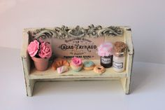 Handmade cream Bakery shabby chic wood shelf with cupcakes,jam,croissant,coffee,biscuits display-miniature dollhouse in 12th scale-furniture