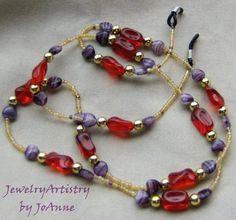 Eyeglass LanyardChain  Red Glass Handmade by by JewelryArtistry, $15.00