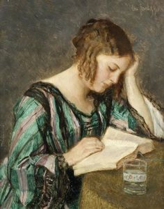 Otto HERSCHEL (1871-1937) Jeune fille lisant Huile sur panneau, signée en ha