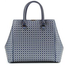 Victoria Beckham Perforated Liberty Leather Tote ($1,130) ❤ liked on Polyvore featuring bags, handbags, tote bags, bolsas, grey, leather man bag, leather purse, grey leather tote, gray leather tote and leather handbags