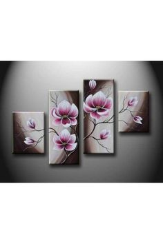 Hand-painted Flower Oil Painting with Stretched Frame-Set of 4 - WooVow