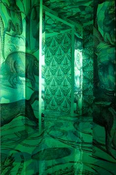"""Carnovsky is a creative duo formed by Milan-based artists Francesco Rugi and Silvia Quintanilla. Their ongoing project entitled """"RGB"""" is a series of murals that… World Of Color, Color Of Life, Emerald City, Emerald Green, Another Green World, Pantone, Slytherin Aesthetic, Green Rooms, Grid Design"""