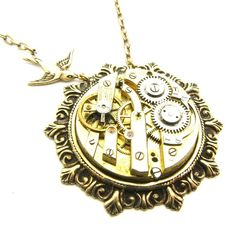 Steampunk Brass Pocket Watch Movement Necklace by TheGoldBug