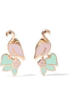 MARC JACOBS Flamingo gold-tone enamel earrings
