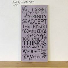 Serenity Prayer Typography Subway Art - Wood Sign