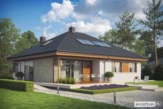 Eris II (wersja C) - projekt domu - Archipelag Stone Driveway, Good House, Facade House, Style At Home, Exterior Design, Gazebo, House Plans, Sweet Home, Outdoor Structures