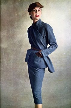 Dior suit 1950s my mother had a suit like this in gray that she wore with red heels...loved it then, love it now.
