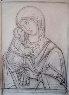 The tracing. The best books about the technology of the icon-painting… Teaching Drawing, Drawing Lessons, Byzantine Art, Byzantine Icons, Religious Icons, Religious Art, Icon Design, Mary And Jesus, Art Icon