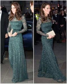 This evening, the Duchess of Cambridge is attending the 2017 National Portrait Gala held at the National Portrait Gallery in London. She has been patron of the Gallery since 2012. Kate is in a repeat Temperley gown tonight.