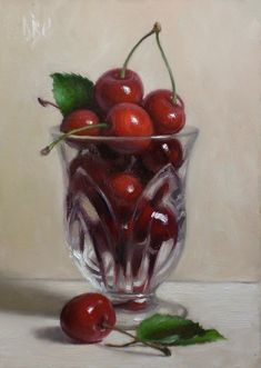"Daily paintworks - ""cherries in glass"" by debra becks cooper still life fruit,"