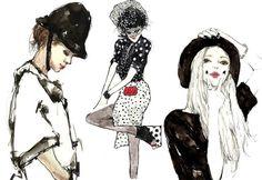 Fashion illustration, by Vita Yang Fashion Illustration Collage, Pattern Illustration, Fashion Illustrations, Watercolor Girl, La Red, Fashion Figures, Sketch Inspiration, Fashion Art, Fashion Design