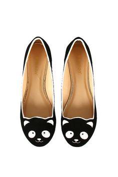 Womens Fashion Panda Bear Flat Animal Face in Black Nude White Cute Shoes | eBay