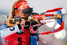 Gabriela Koukalova of Czech Republic takes 1st place during the IBU Biathlon World Cup Men's and Women's Mass Start on December 18, 2016 in Nove Mesto na Morave, Czech Republic.
