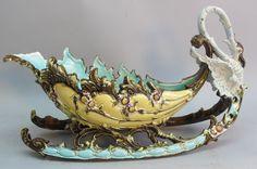 Superb 18 Majolica Cornucopia Center Basket c. 1900 antique pottery