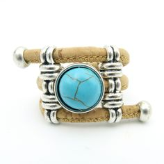Cork Rings Turquoise stone R-039