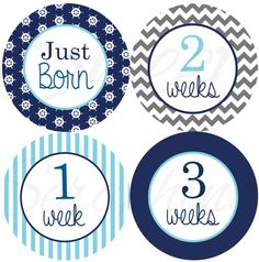 Monthly Bodysuit Stickers for Boys Nautical Boy by SweetSeraphina