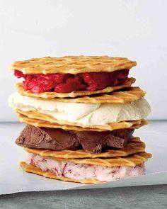 Sandwich your favorite frozen treat -- ice cream, gelato, or sorbet -- between waffle cookies to create this fun ice cream sandwich.