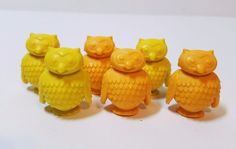 "6 Rubber Plastic Vinyl Miniature Owl Bird Figurine Toy Orange Yellow 1"" Figure"