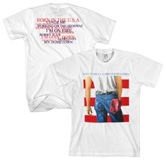 This men's Bruce Springsteen tshirt features the famous album cover from his hugely successful 1984 studio release, Born in the USA. Made from 100% cotton, the front of the tee spotlights the front of the album's cover while this shirt's back lists the song titles found on Born in the USA. Made from 100% white cotton.