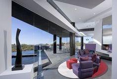 Modern Living Room with Concrete tile, High ceiling, Carpet, Pendant Light