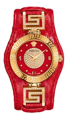 Glamorous red combined with a radiant allure: discover the powerful new version of the iconic #Versace V-Signature. #VersaceWatches